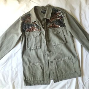 Topshop Canvas Utility Sequin Camo Coat Jacket